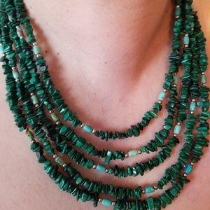 Jay King Malachite and Turquoise 5 strand necklace